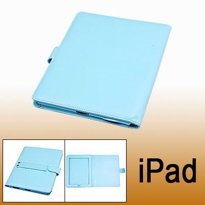 Blue Faux Leather Bag Button Closure Case for Notebook Laptop