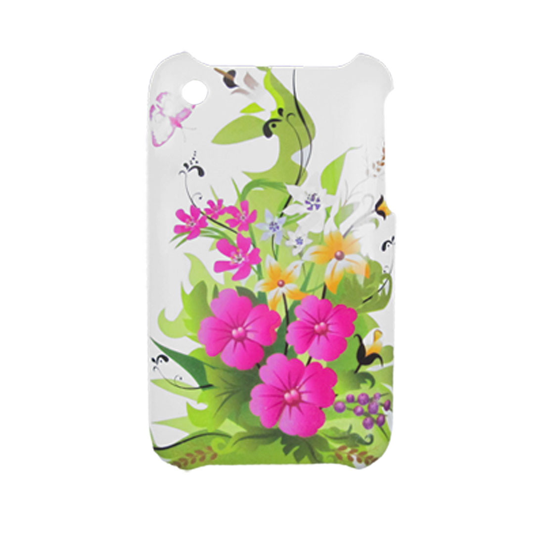 Hot Pink Flower Protector Plastic Back Case Green for iPhone 3G 3GS