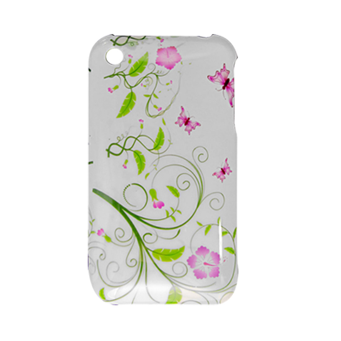 White Green Flower Plastic Back Case Screen Guard for iPhone 3G