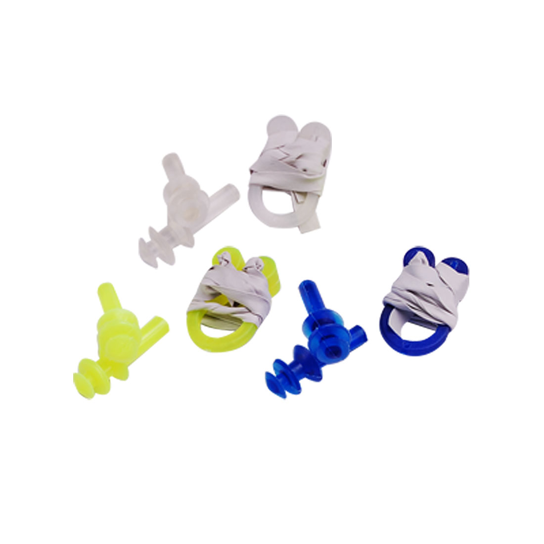 12 Pcs Plastic Nose Clip + Ear plug Set for Swimming