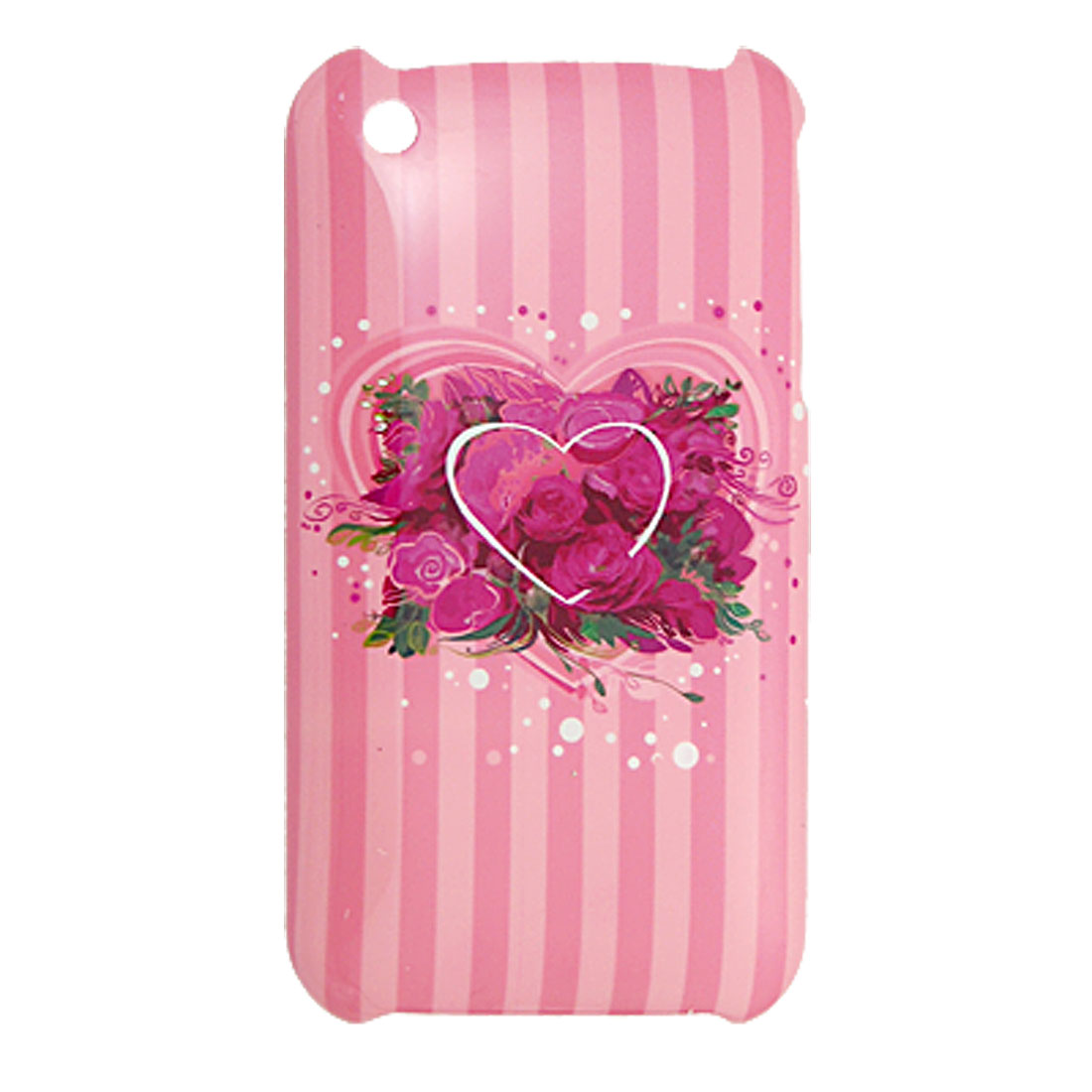 Rose Pink Flower Printed Plastic Back Cover for iPhone 3G