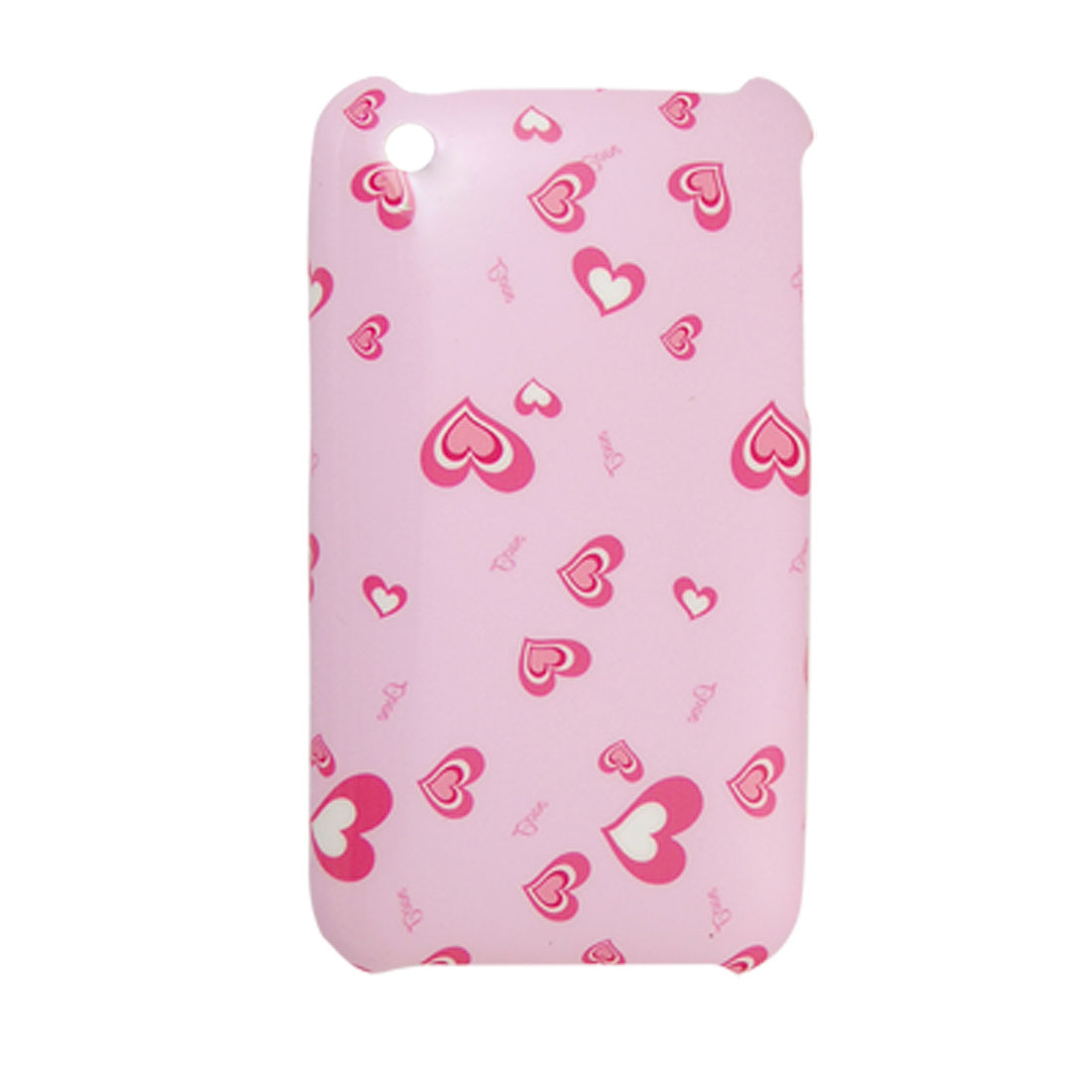 Heart Printed Pink Plastic Back Cover for iPhone 3G