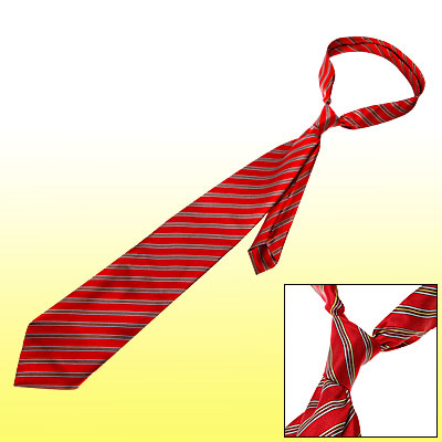 53 Inch Red Stripe Satin Polyester Neck Tie Men Necktie