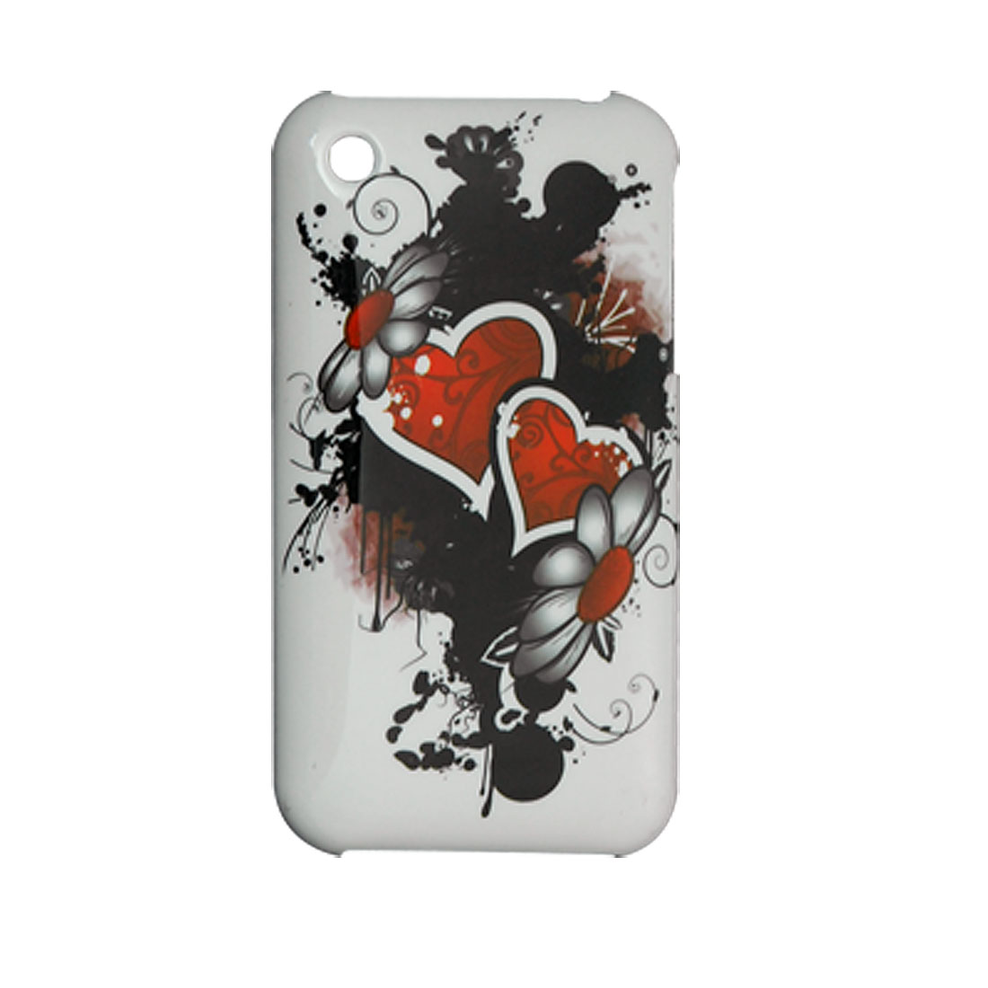 Screen Guard + Heart Printed Hard Back Cover for iPhone 3G White