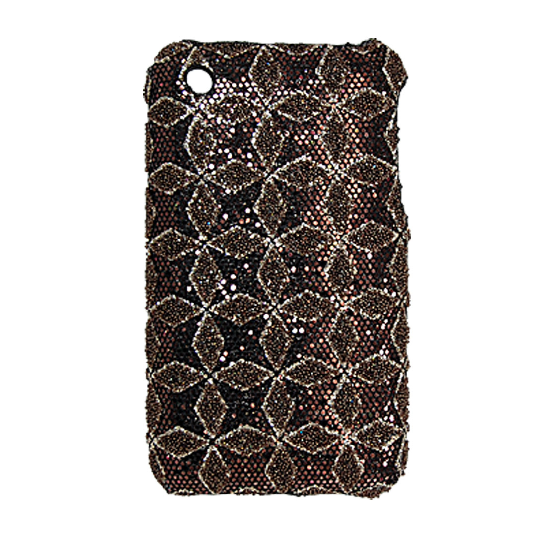 Coffee Glittery Rhombus Nonslip Hard Back Case for iPhone 3G