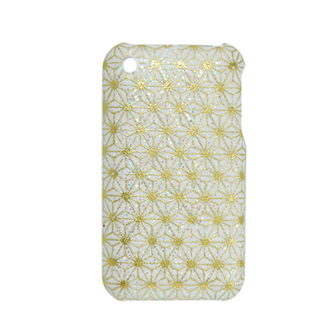 White Glittery Flower Nonskid Back Guard for iPhone 3G