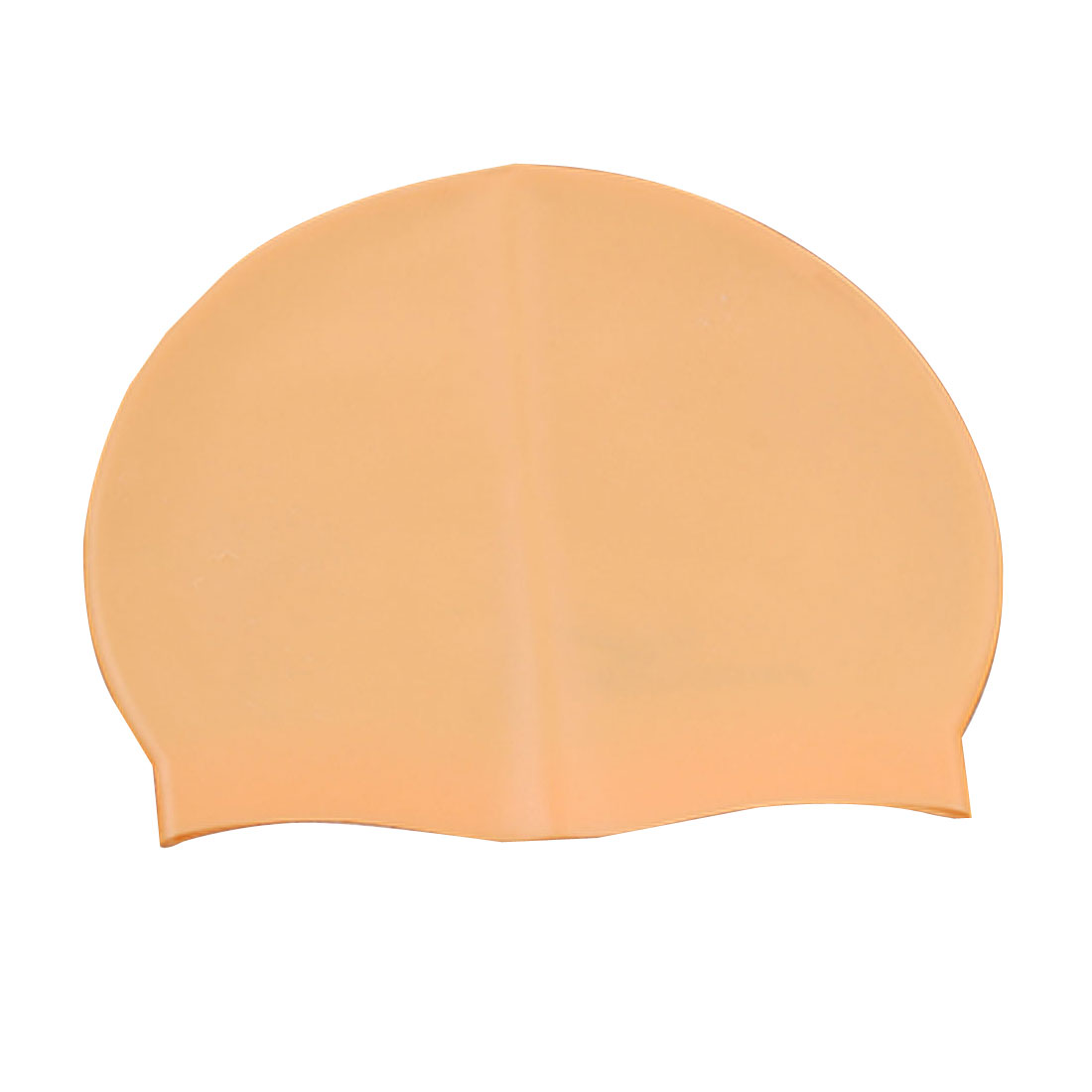 "Adults Silicone Sporting Training Skin Skid Proof Swim Cap Orange 7"" x 7.65"""