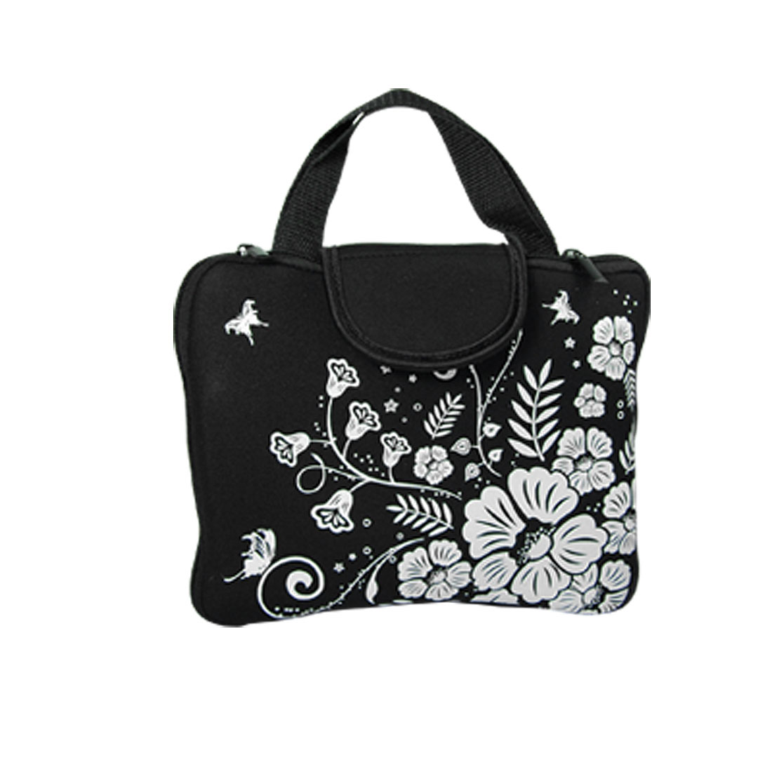 Black White Flowers Pattern Neoprene Sleeve Laptop Hand Bag