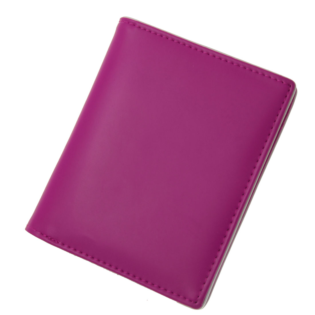 "3.6"" Long Fuchsia Faux Leather Photo Window Card Slot Lady Wallet Purse"
