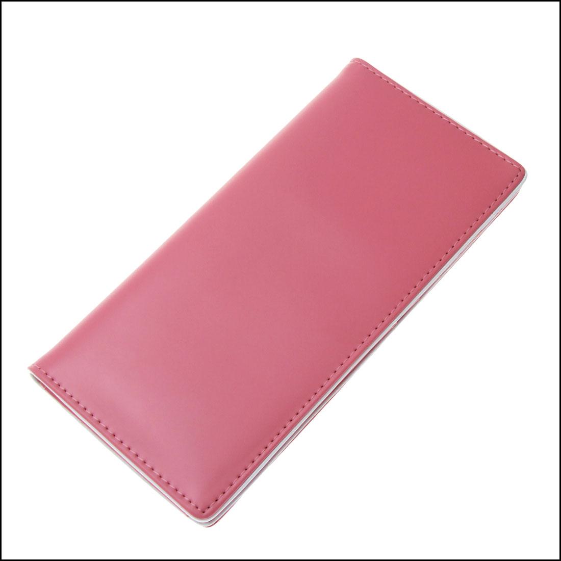 "7.25"" Long Ultra Pink Faux Leather Photo Window Card Slot Lady Wallet Purse"