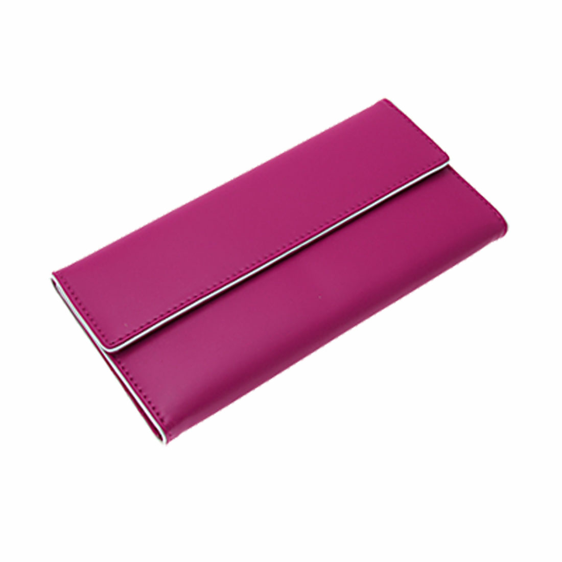 7.25 x 3.7 Inch Faux Leather Clip Button Zip Lady Wallet Purse Magenta