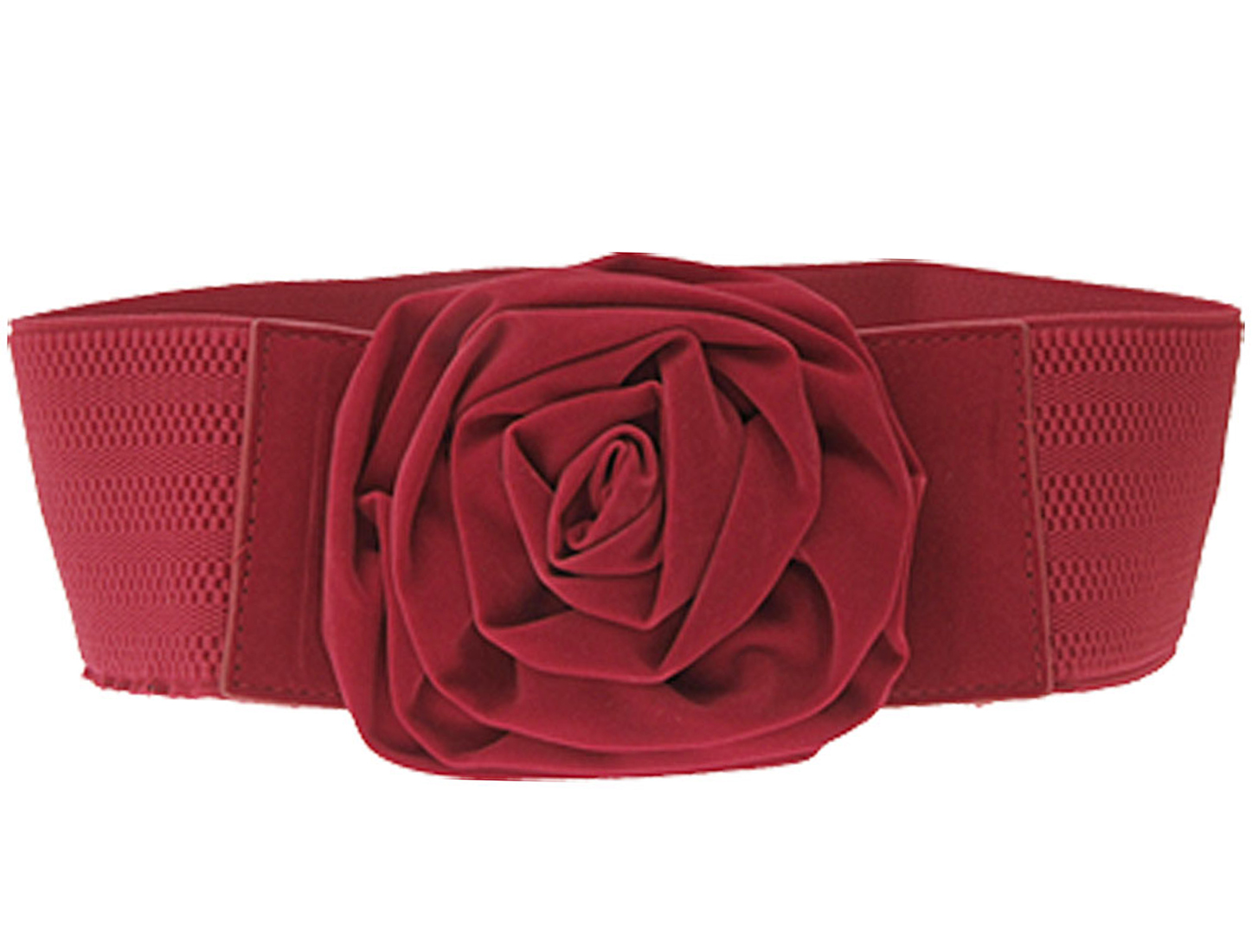 Adjustable Flower Design Buckle Ladies Waist Belt Red