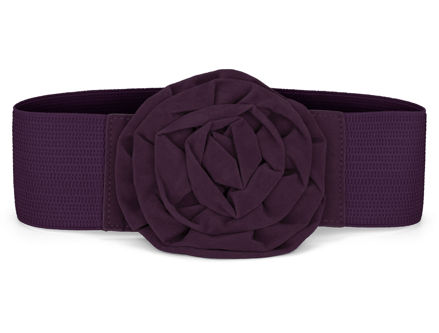 Purple Elastic Nylon Flower Buckle Ladies Waist Belt