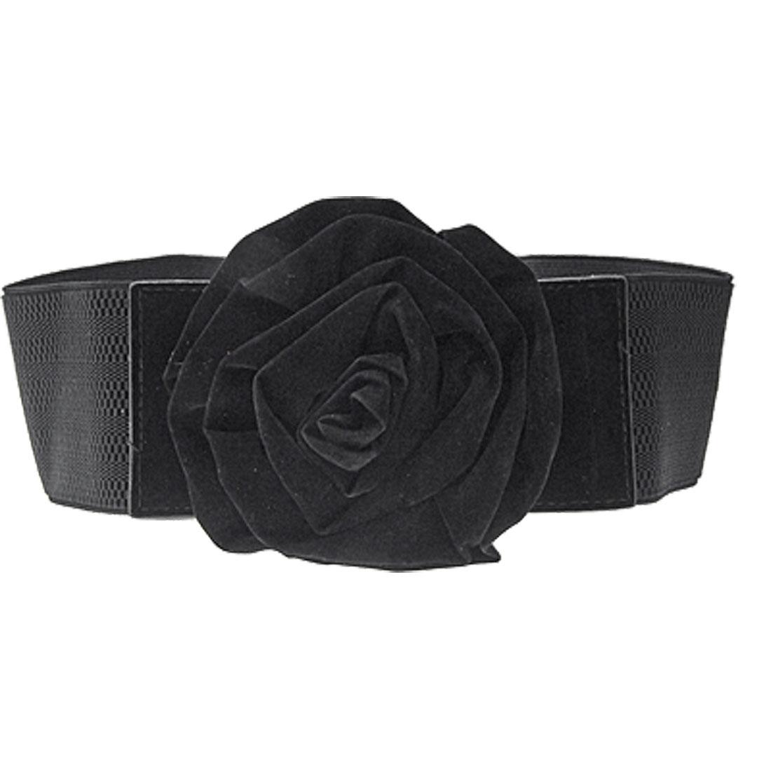 Flower Buckle Elastic Nylon Ladies Waist Belt Black