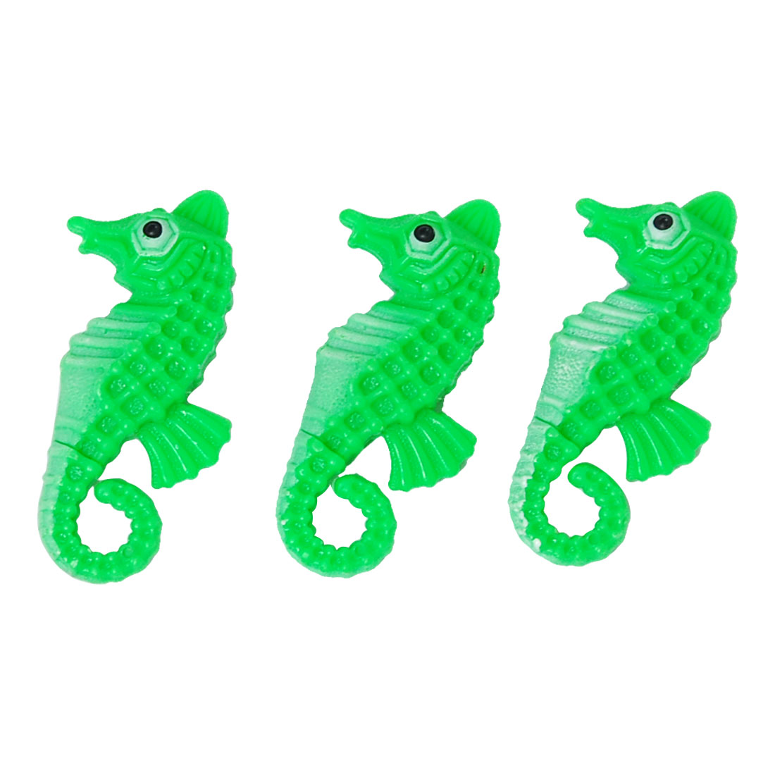 3PCS Plastic Mini Seahorse Green Ornament for Aquarium