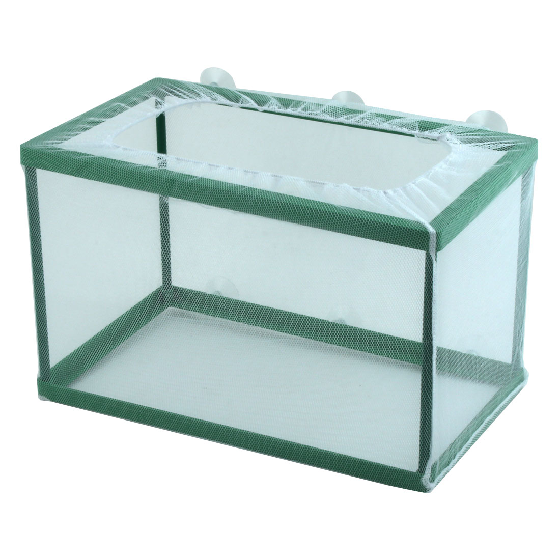 Fish Tank Aquarium Plastic Net Frame Hatchery Breeder Suction Cup Green White