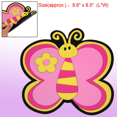 Pink Butterfly Soft Plastic Cup Coaster Table Dish Pad