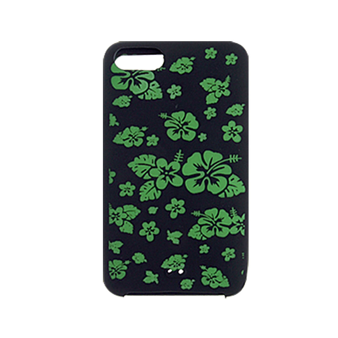 Black Green Flower Silicone Case Cover Skin + Screen Guard for iPod Touch 2