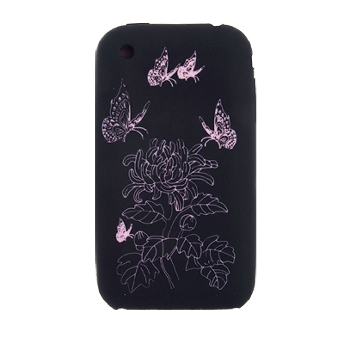 Black Rose Pink Butterfly Silicone Case Cover Skin + Screen Guard for iPhone 3G