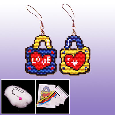 Two Side Love Heart Lock Shape Phone Strap Mini Cross Stitch