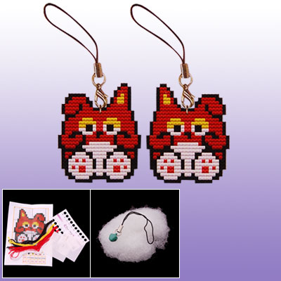 Two Side Cartoon Squirrel Shape Phone Strap Mini Cross Stitch Kit