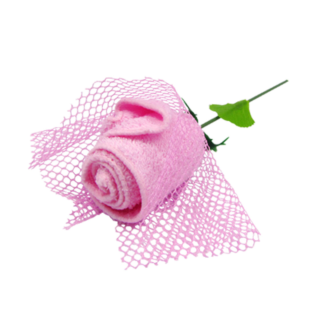 Pink Rose Shape Square Cotton Terylene Face Wash Cloth Towel