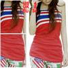 Ladies Red Elastic Striped Strapless Knit Tube Top S