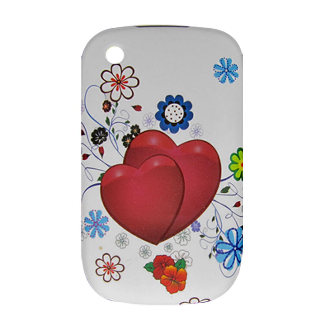 Red Heart Print Rubberized Plastic Case Cover for Blackberry 8520