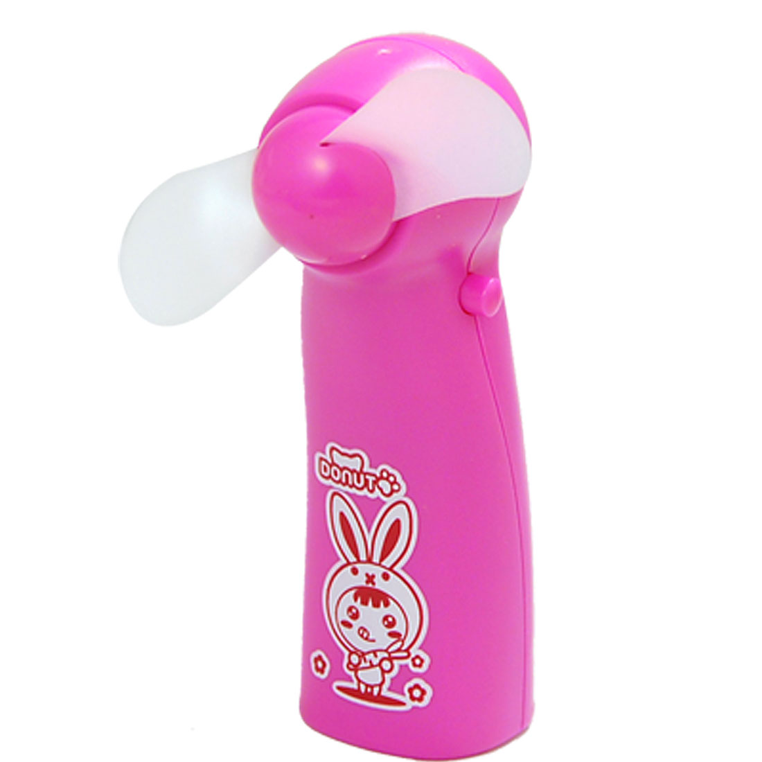 Hot Pink Cartoon Bunny Pattern Mini Pocket Electric Fan