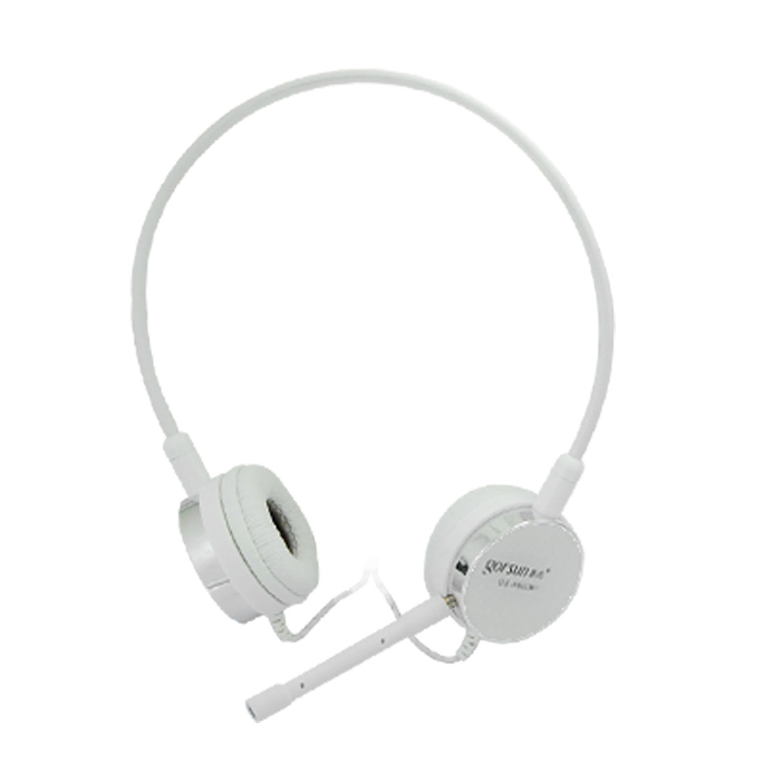 White 3.5mm PC Computer Online Chat Headset w Microphone