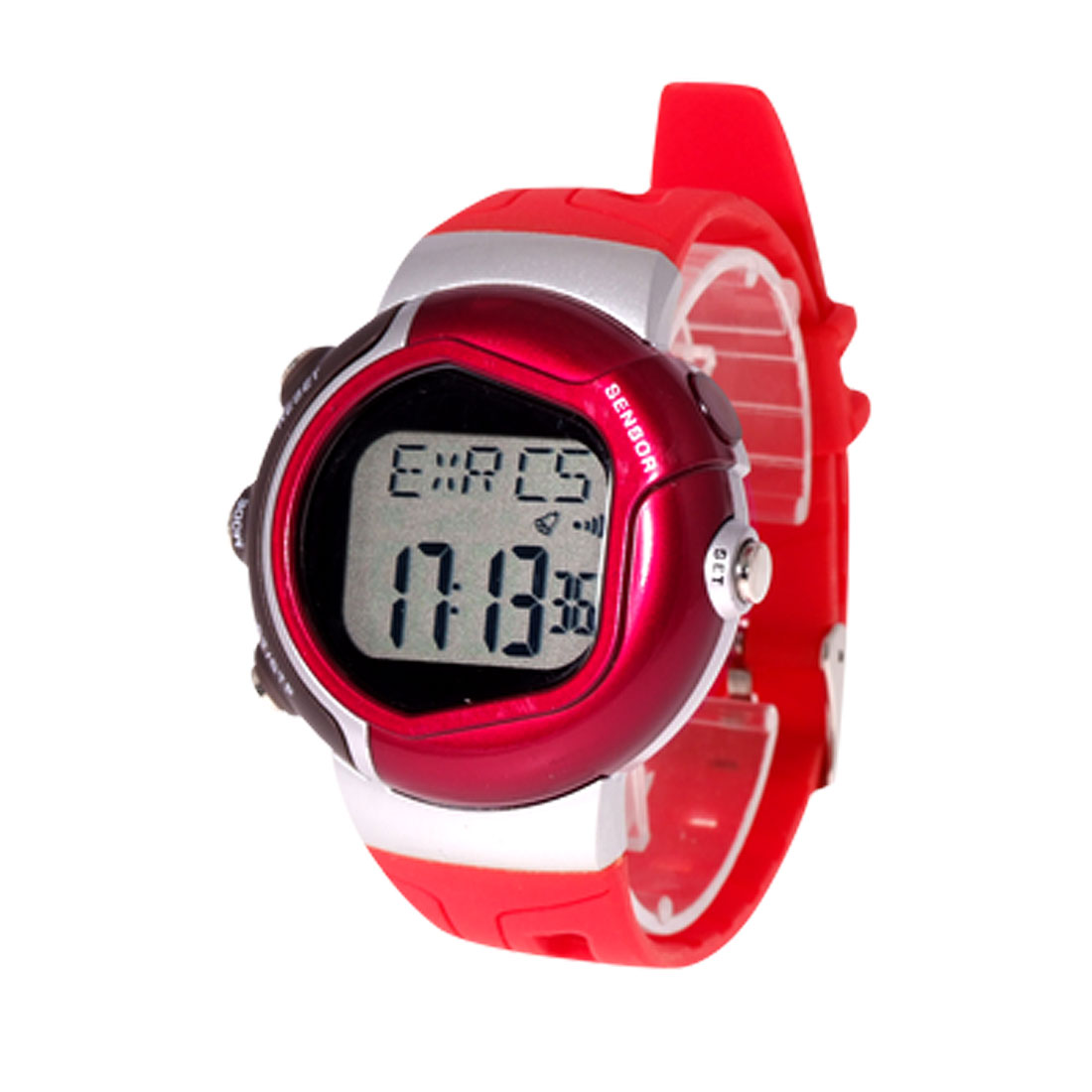 Red Plastic Band Stopwatch Alarm Watch Heart Pulse Rate Monitor