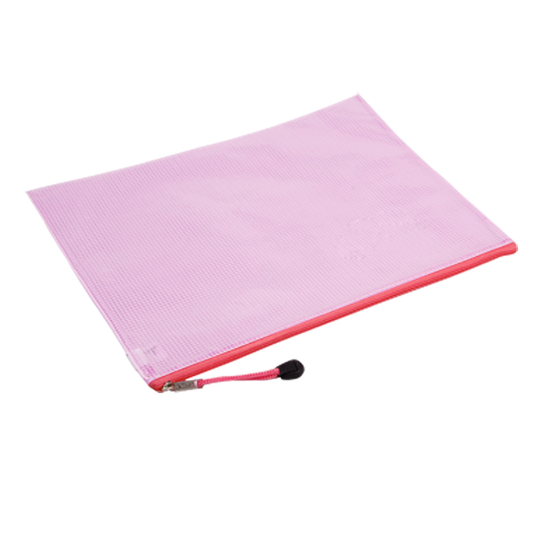 A5 Paper Size Zipper Closure Soft Files Bag Clear Pink