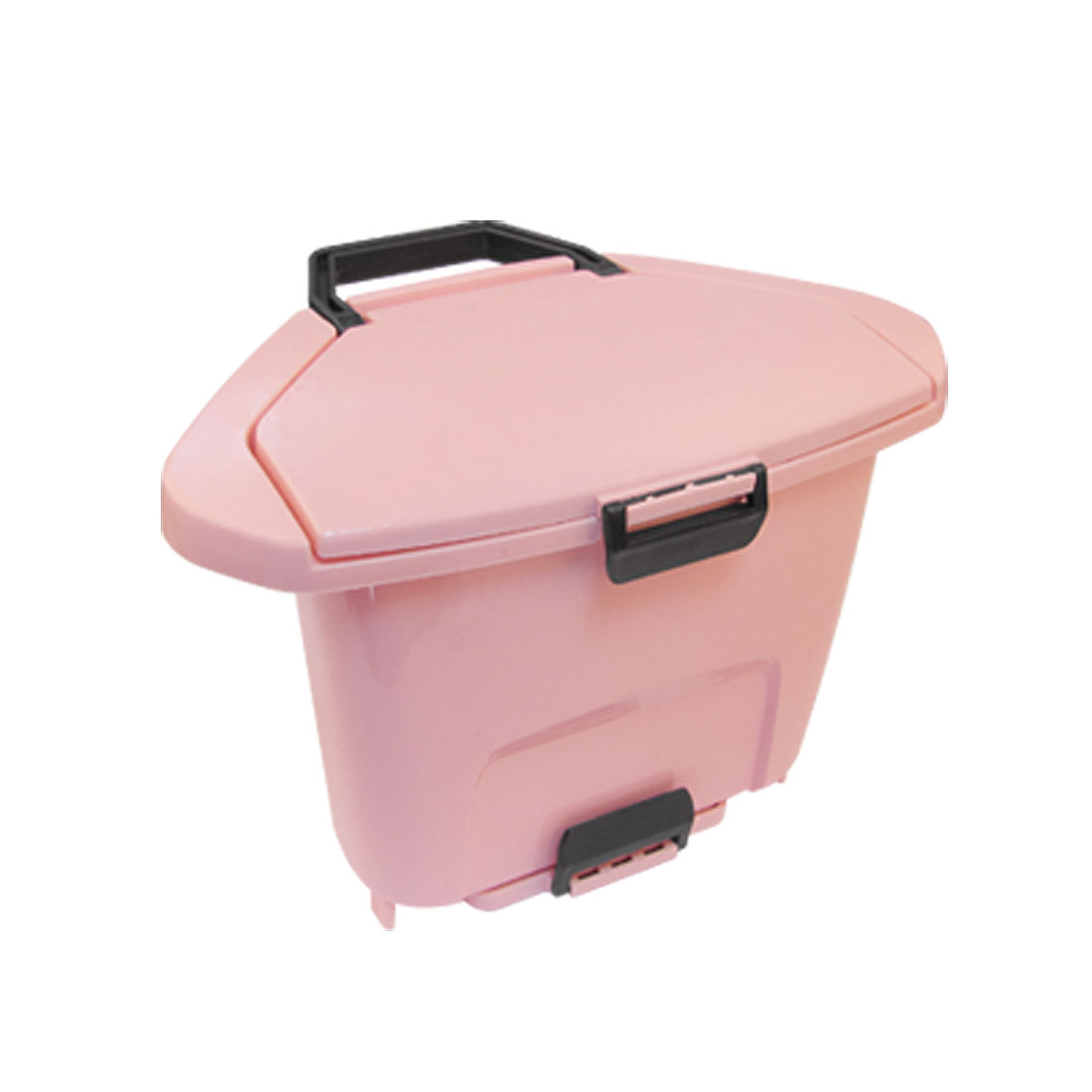 Home Kitchen Plastic Trashcan Dustbin Pink w Suction Cup