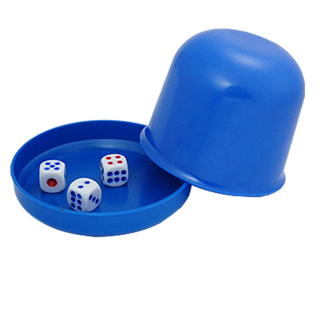 Pub Bar Casino Games Plastic Blue Dice Shaker Cup w 3 Dices