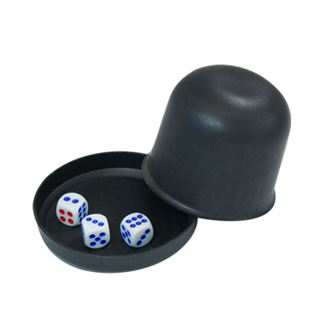 Pub Bar Casino Games Plastic Black Dice Shaker Cup w 3