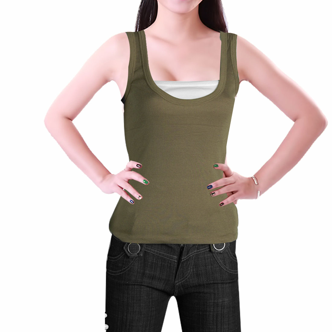 Ladies Light Brown White Sleeveless Shirt 2-Fer Tank Top XS