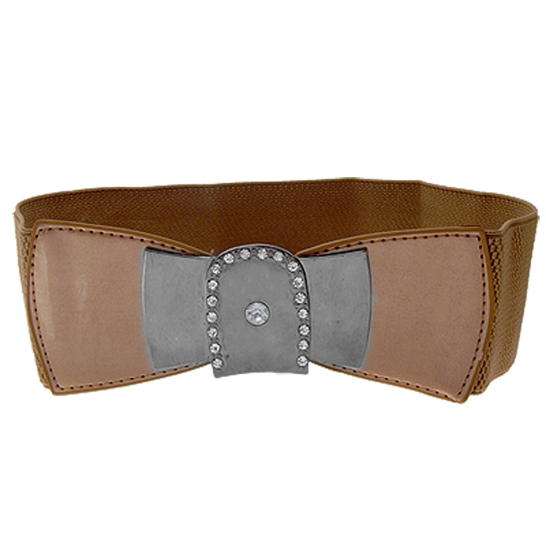 Brown Rhinestone Buckle Stretch Waist Belt for Ladies