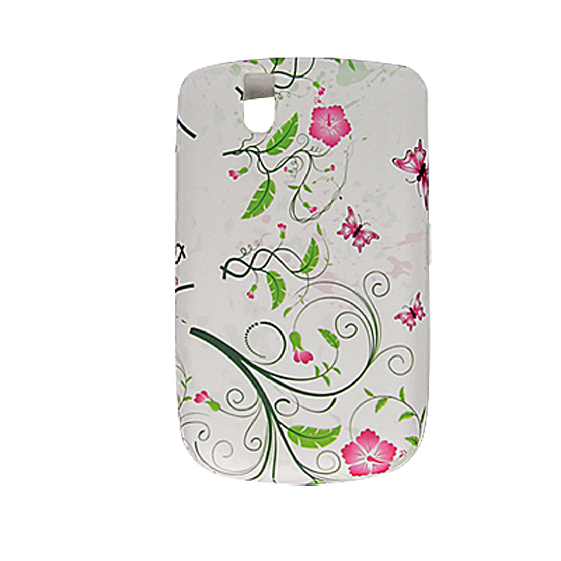 Butterfly Flower Style White Case Cover for BlackBerry 9630