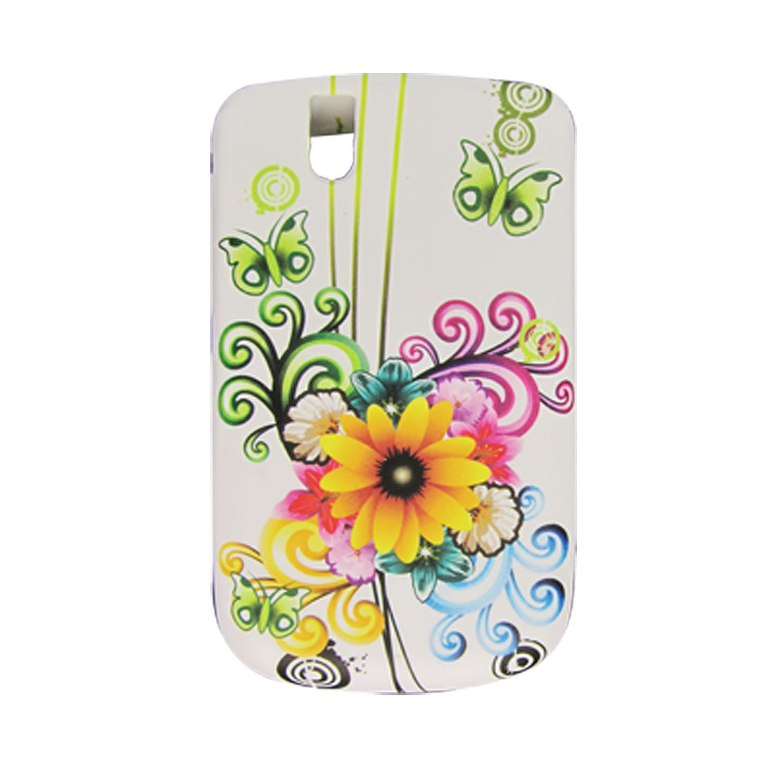 Soft Plastic Chrysanthemum Butterfly Style White Cover for BlackBerry 9630