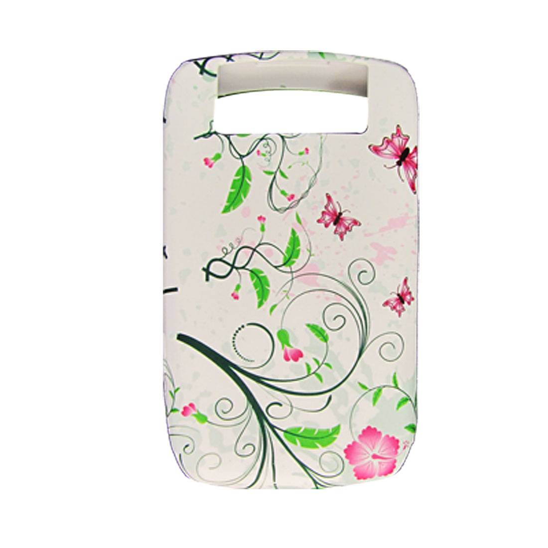 Butterfly Flower Pattern White Soft Plastic Cover for BlackBerry 8900