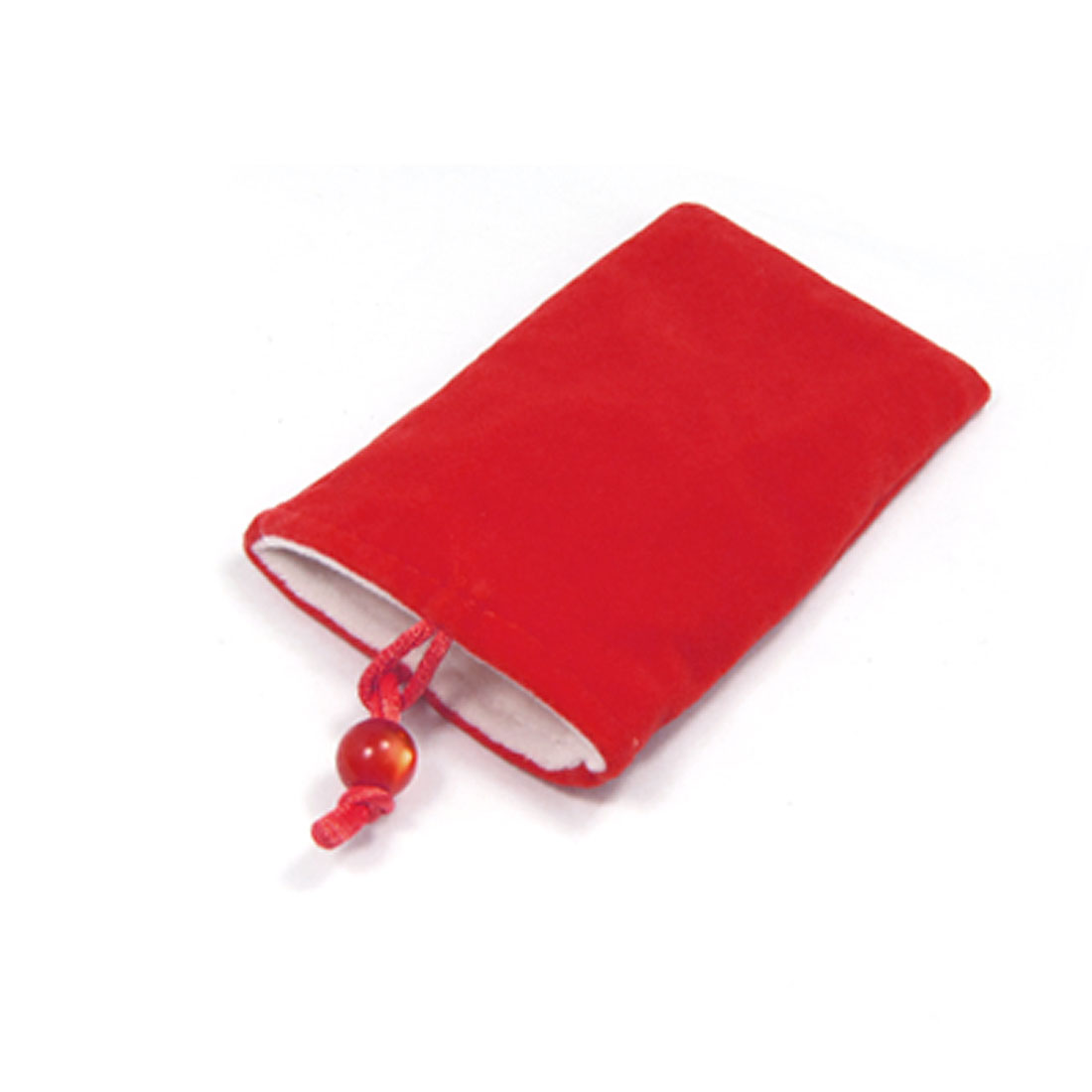 For iPhone 3G Bead Button Closure Soft Plush Red Pouch