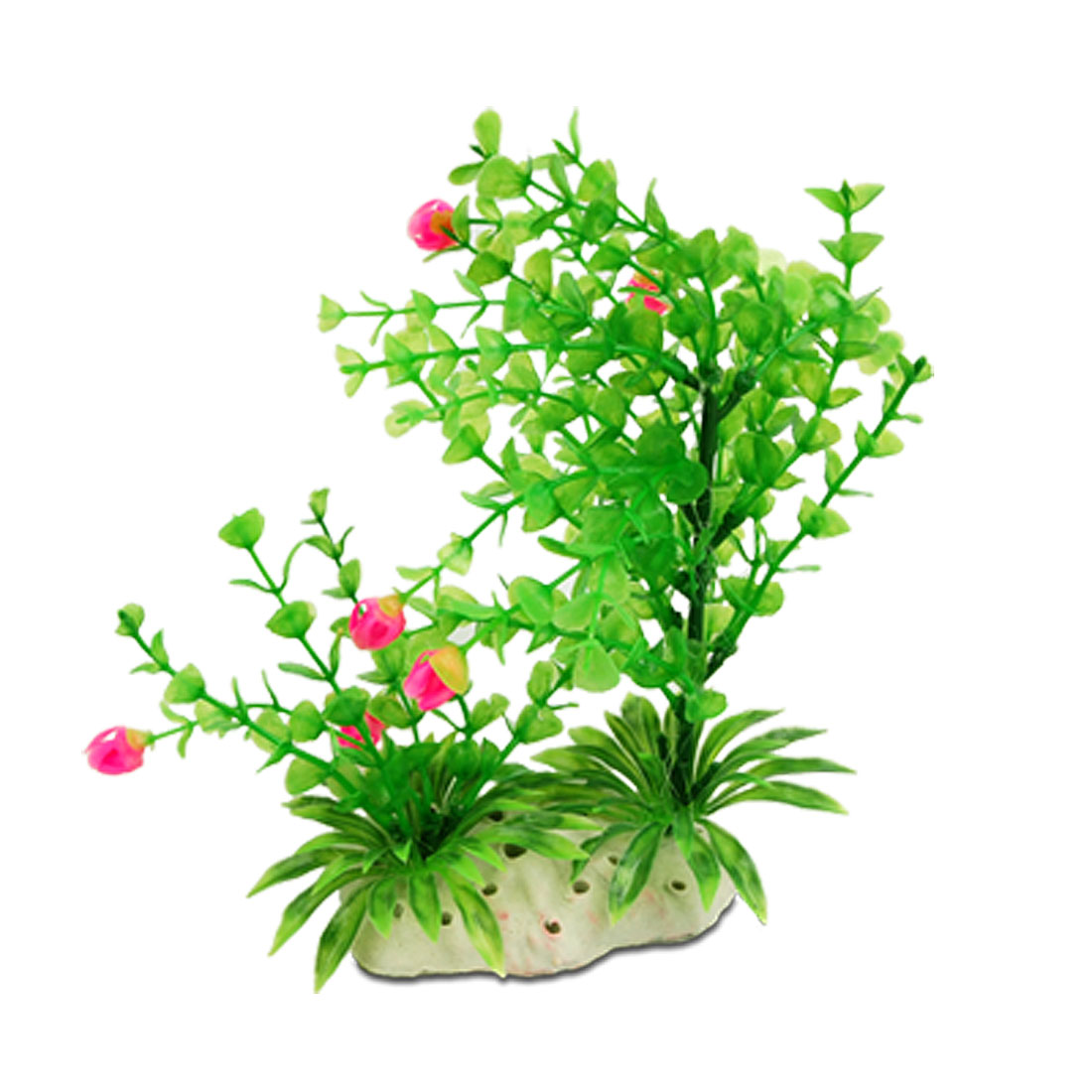 Plastic Green Grass Pink Flower Decor Aquarium Ornament