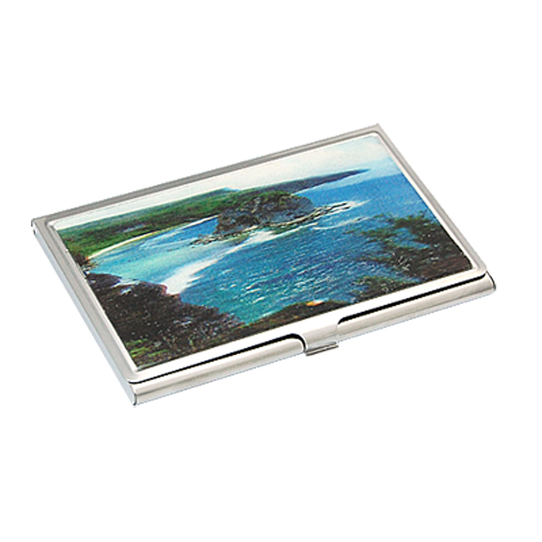 3D Landscape Print Rectangle Steel Name Card Case Holder