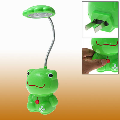 US Plug Green Frog Rechargeable 18 LED Flexible Neck White Light Desk Lamp AC90-240V