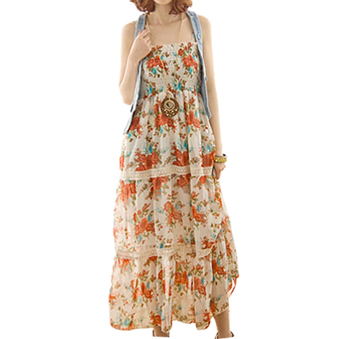 Ladies Spaghetti Straps Floral Prints Chiffon Maxi Dress Beige XS