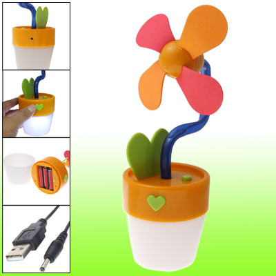 Orange Batteries Powered USB Flower Pot Shape Fan w White LED Light