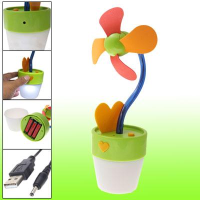 Batteries Powered USB Flower Pot Shape Fan w White LED Light