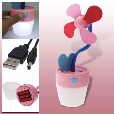 Pink Batteries Powered USB Flower Pot Shape Fan w White LED Light