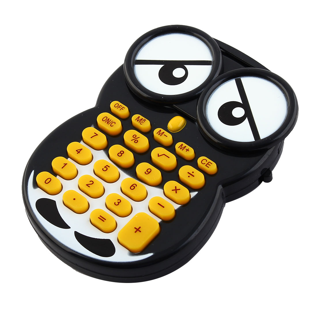 8 Digits Mini Black White Owl Yellow Button Calculator