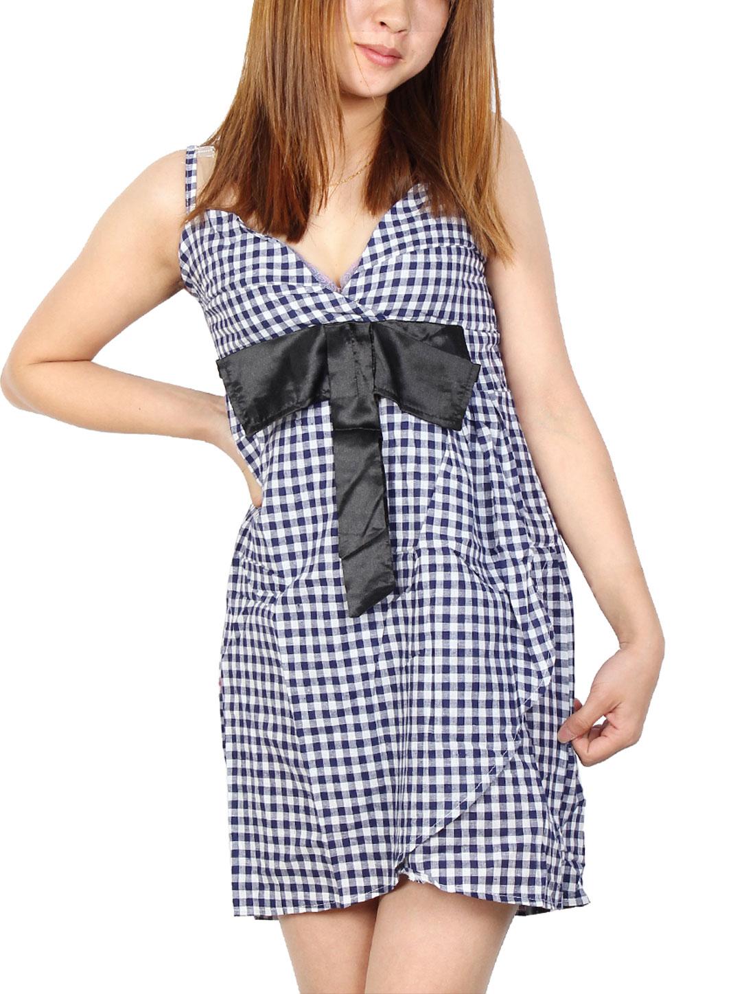 Plaid Printed Spaghetti Straps Sweetheart Neckline Skirt for Ladies XS